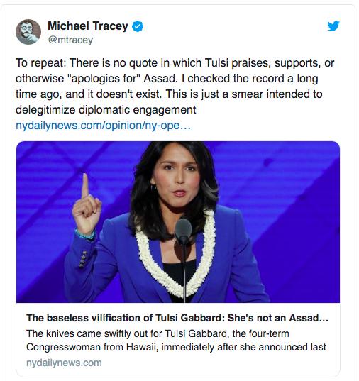 Tulsi Not Assad Apolgist